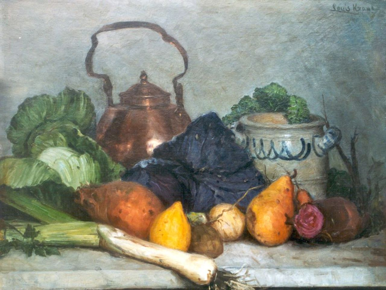 Louis Marie Krans | A still life with vegetables, oil on board, 38.1 x 48.2 cm, signed u.r.