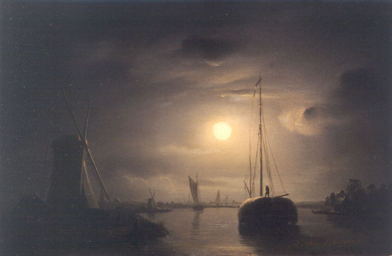 Schendel P. van | Petrus van Schendel, A moonlit river landscape with a haybarge, oil on panel 19.3 x 27.2 cm, signed l.r.