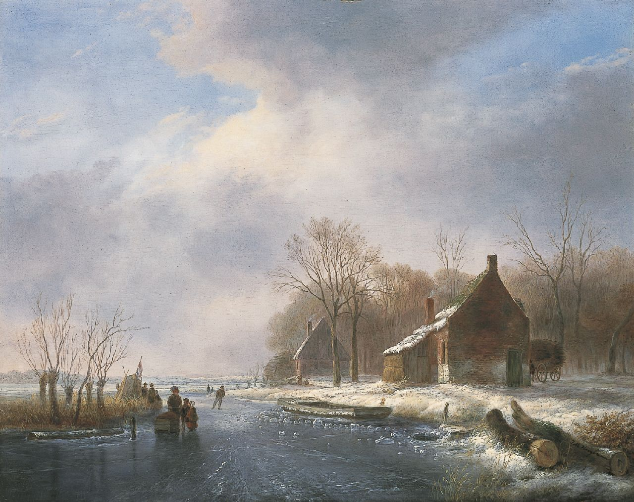 Johannes Matthijs Hoogbruin | A winter landscape with skaters on the ice, oil on panel, 45.1 x 57.3 cm, signed l.r.