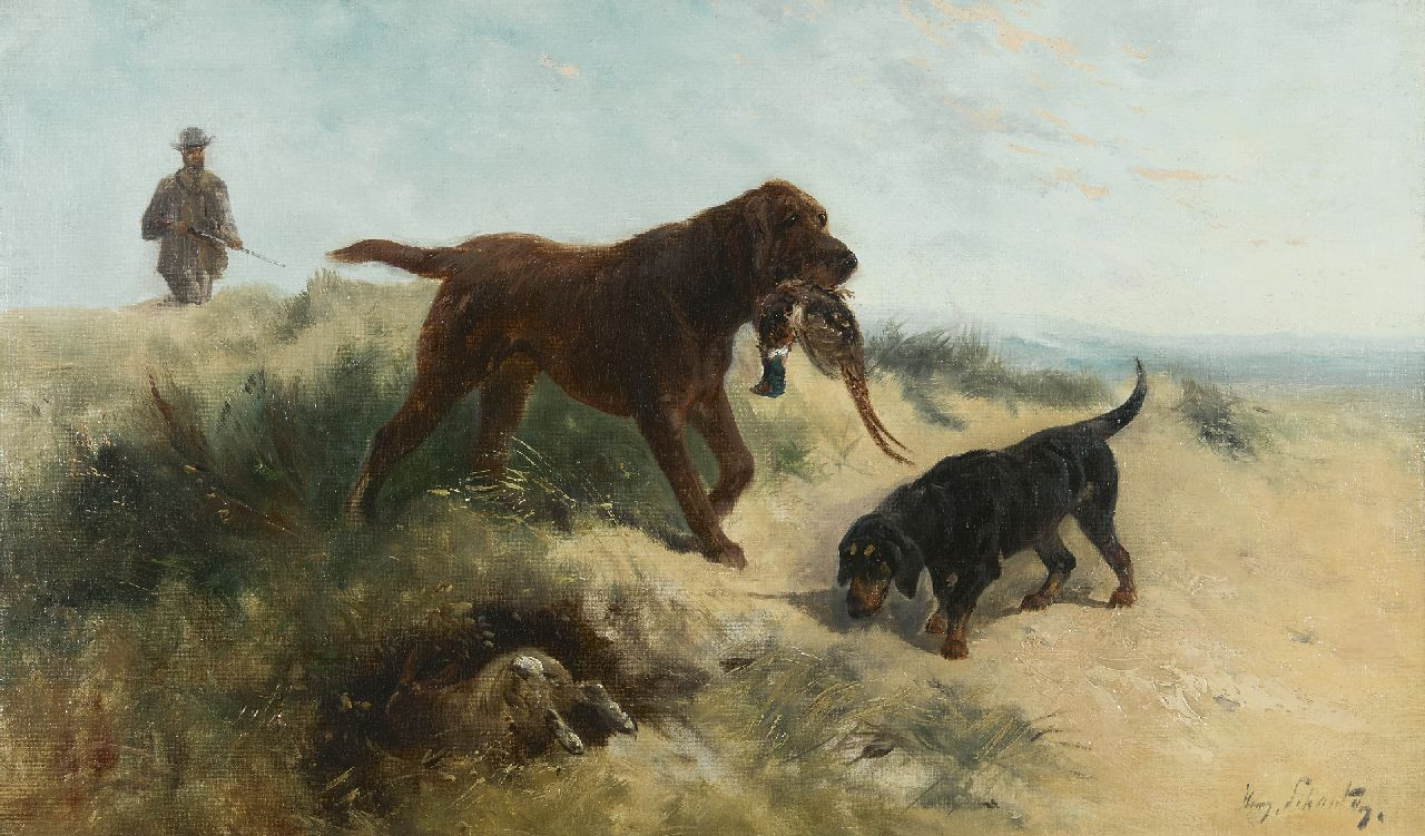 Henry Schouten | A hunter with his dogs in the dunes, oil on canvas, 43.0 x 72.9 cm, signed l.r.