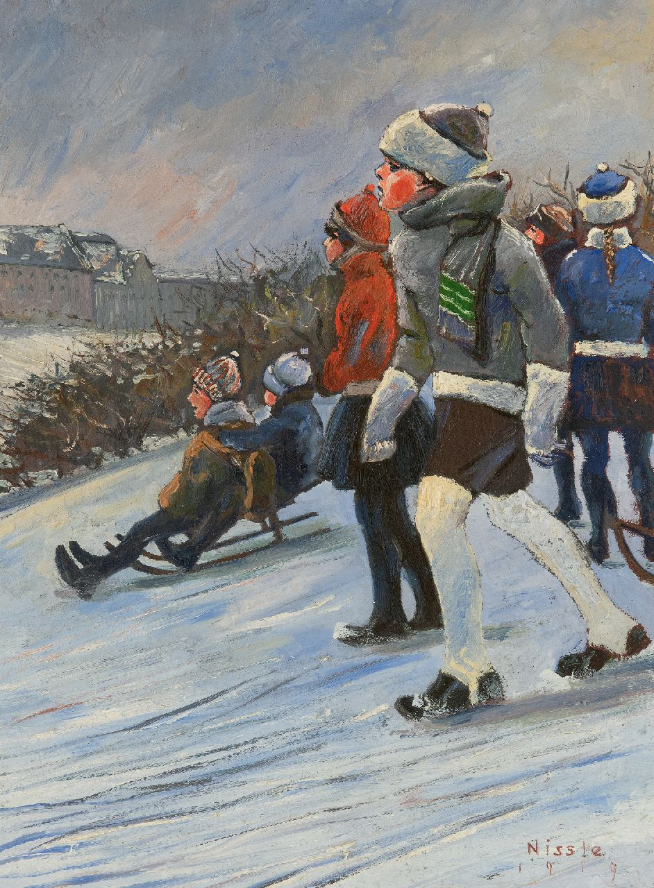 Nissle F.  | Fritz Nissle | Paintings offered for sale | Children on a sled going downhill, oil on painter's cardboard 41.6 x 31.2 cm, signed l.r. and dated 1919