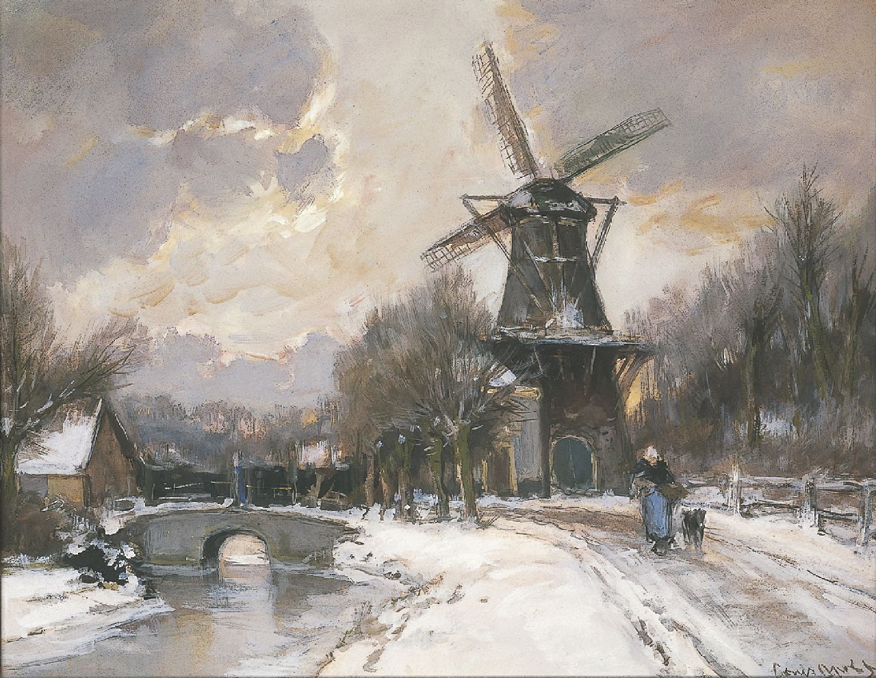 Apol L.F.H.  | Lodewijk Franciscus Hendrik 'Louis' Apol, Flourmill, Parkweg Voorburg, watercolour and gouache on paper 43.0 x 54.2 cm, signed l.r.