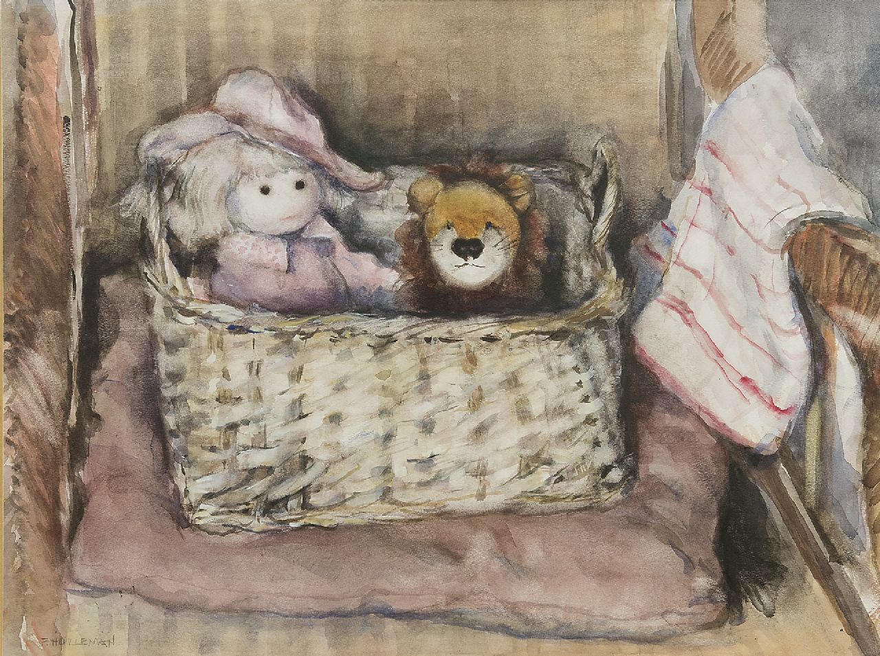 Frida Holleman | The doll basket, watercolour on paper, 35.5 x 47.0 cm, signed l.l.