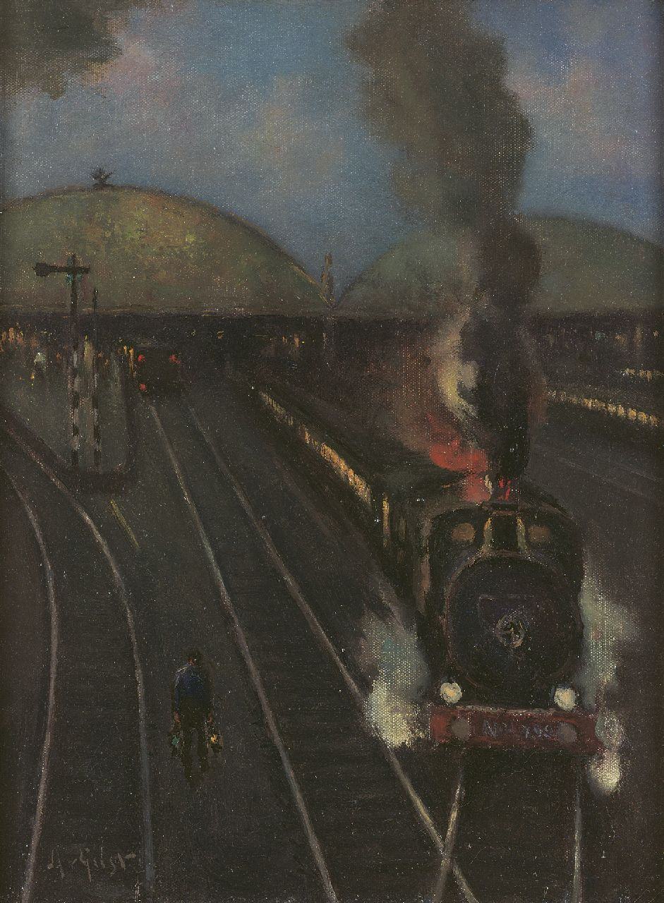 Arnout van Gilst | Steam-locomotive near the station of Amsterdam, oil on canvas, 40.4 x 30.2 cm, signed l.l.