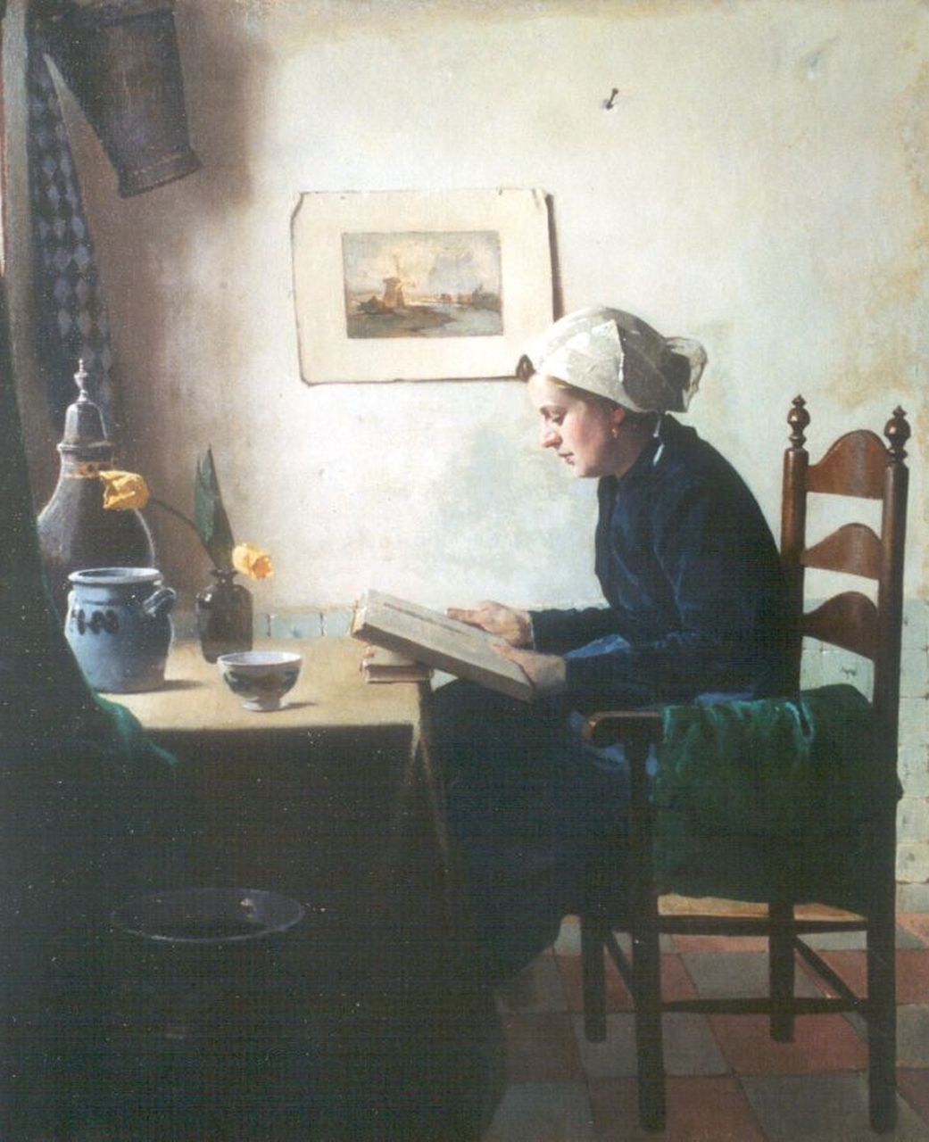 Ligtelijn E.J.  | Evert Jan Ligtelijn, Reading a book, oil on canvas 60.3 x 50.0 cm, signed l.l.