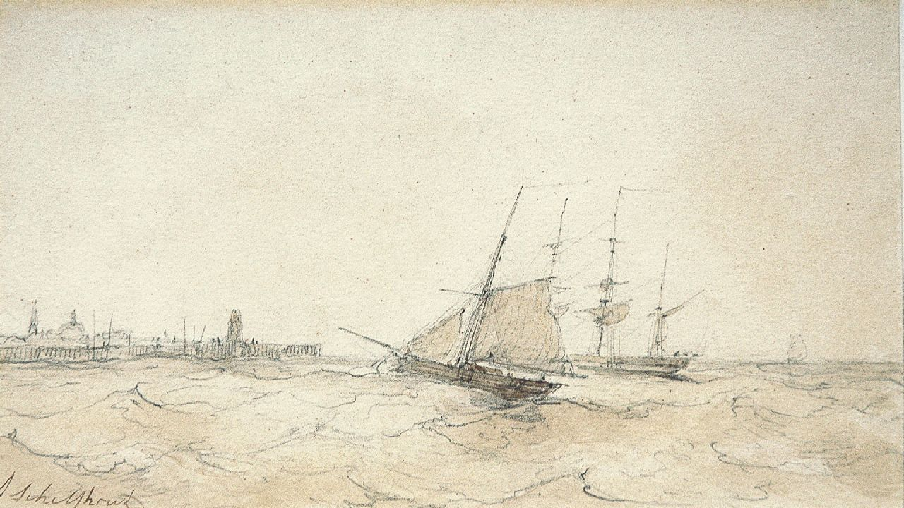Schelfhout A.  | Andreas Schelfhout, The arrival of the fleet, pencil, pen and sepia on paper 13.5 x 22.5 cm, signed l.l.