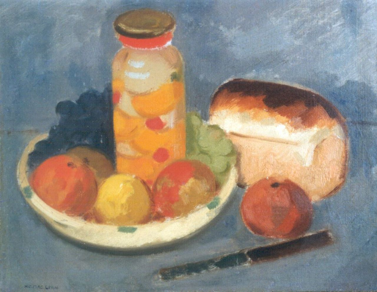 Henri Maclean | A still life with bread and a knife, oil on canvas, 35.5 x 45.6 cm, signed l.l.