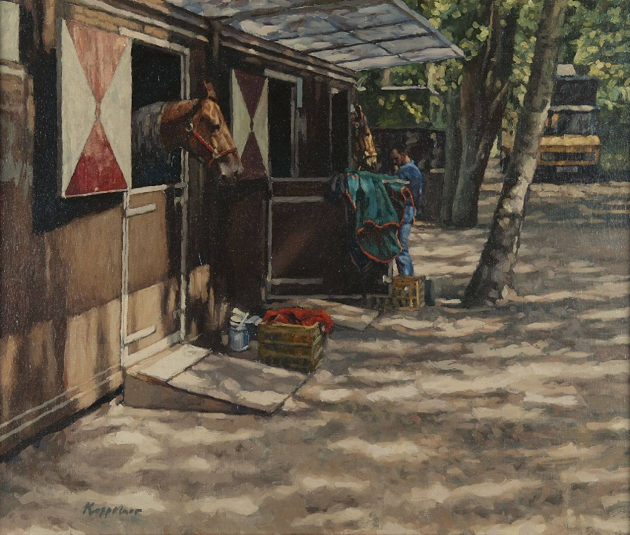 Frans Koppelaar | The stables at Duindigt, oil on canvas, 50.0 x 59.8 cm, signed l.l. and painted '1996' reverse