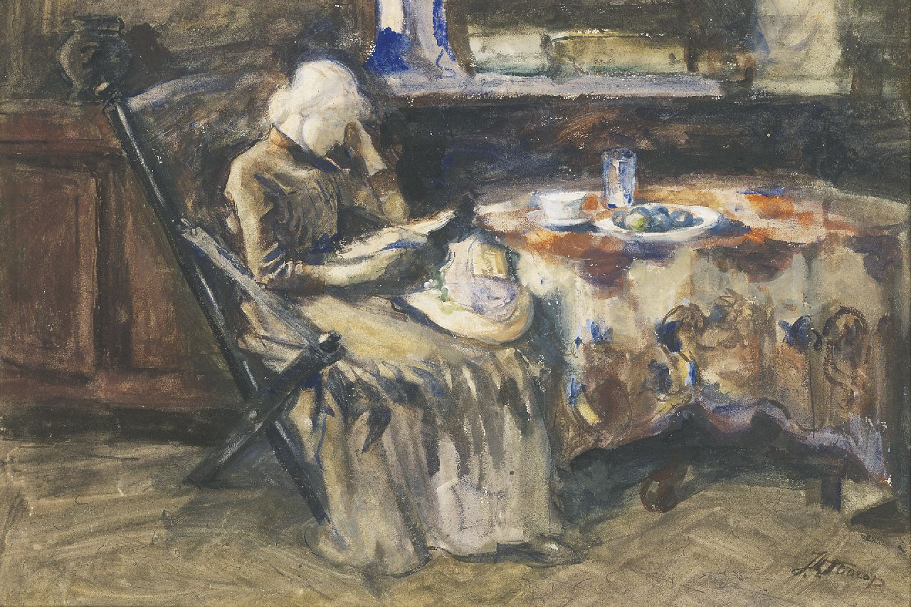 Toorop J.Th.  | Johannes Theodorus 'Jan' Toorop, Annie Hall, the artist's wife, reading, watercolour and gouache on paper 40.0 x 59.0 cm, signed l.r.