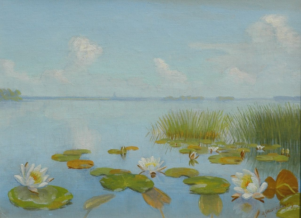 Smorenberg D.  | Dirk Smorenberg, Water lilies, oil on canvas 24.8 x 32.8 cm, signed l.r.