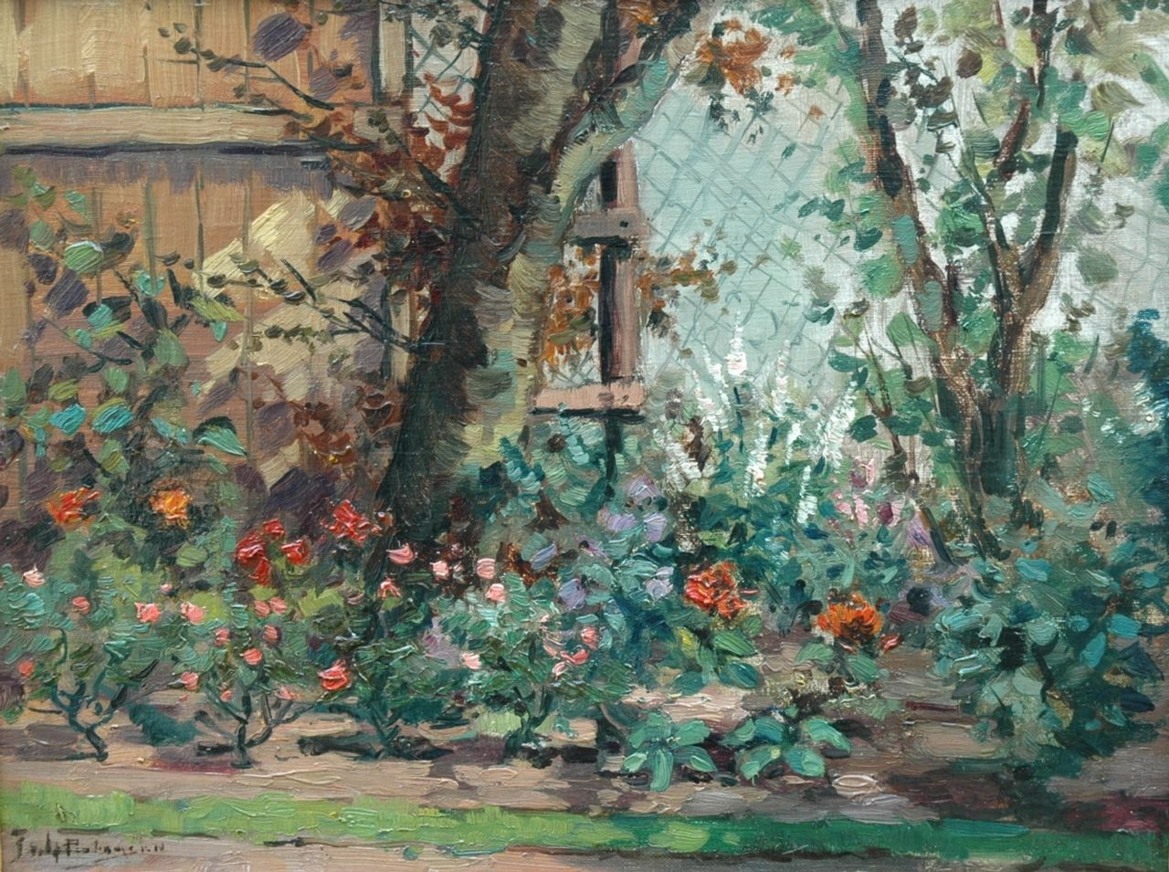 Johannes Pietersen | The rose garden, oil on cardboard, 30.0 x 39.4 cm, signed l.l.
