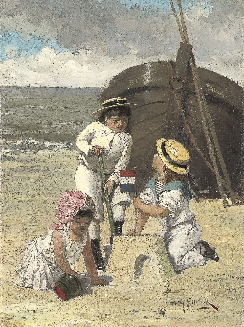Steelink jr. W.  | Willem Steelink jr., Children playing on the beach, oil on canvas 28.3 x 20.9 cm, signed l.r.