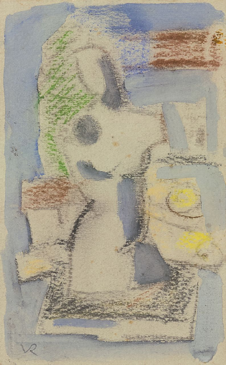 Rees O. van | Otto van Rees | Watercolours and drawings offered for sale | Composition with torso, chalk and watercolour on paper 17.5 x 11.5 cm, painted ca. 1949
