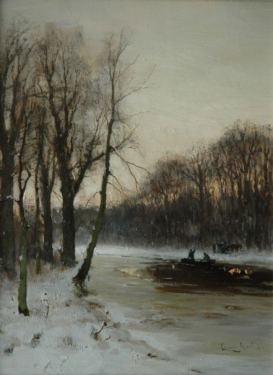 Apol L.F.H.  | Lodewijk Franciscus Hendrik 'Louis' Apol, Along a canal by sunset, oil on panel 30.9 x 23.5 cm, signed l.r.
