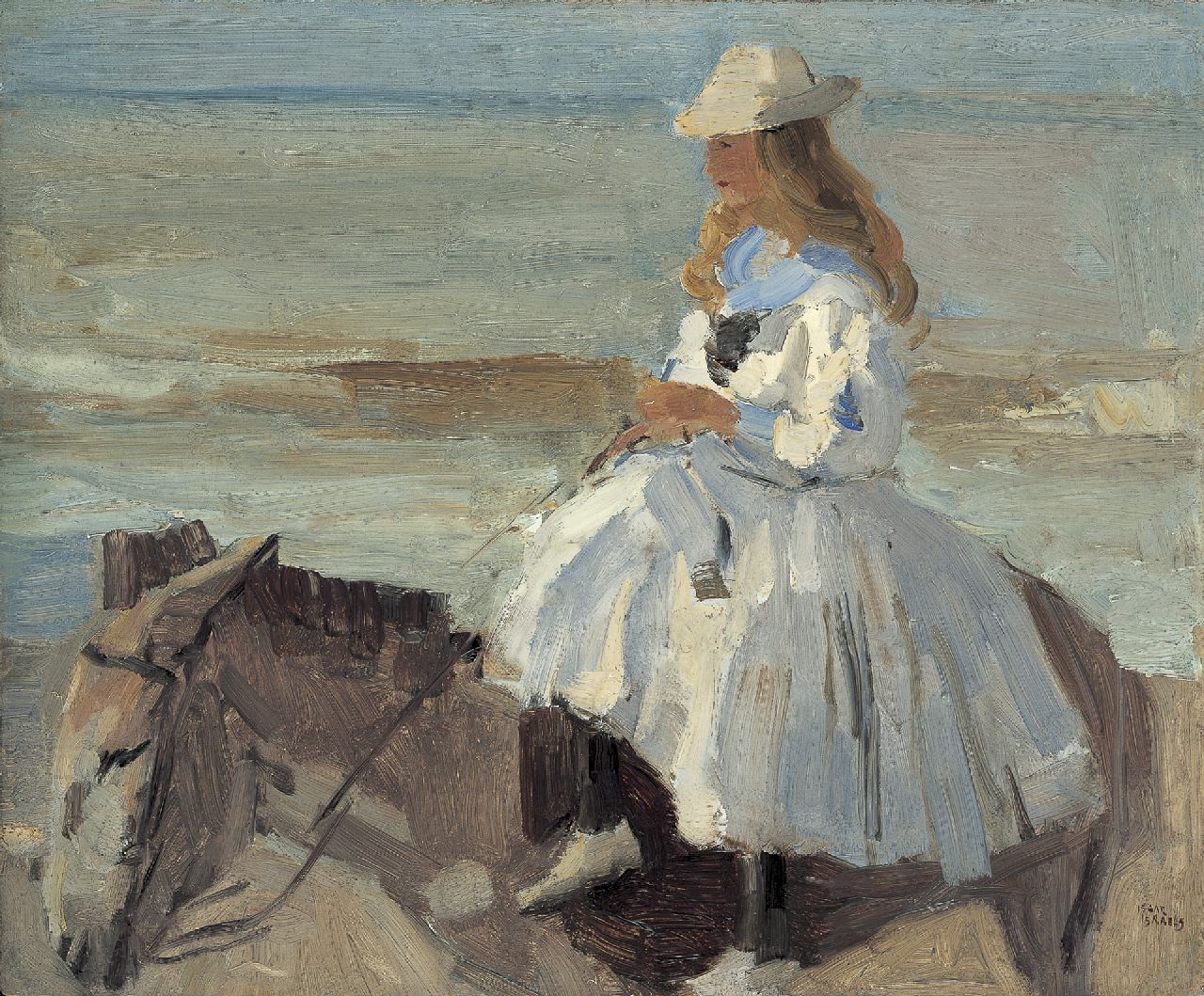 Israels I.L.  | 'Isaac' Lazarus Israels, A donkey ride, oil on board 46.1 x 56.1 cm, signed l.r.