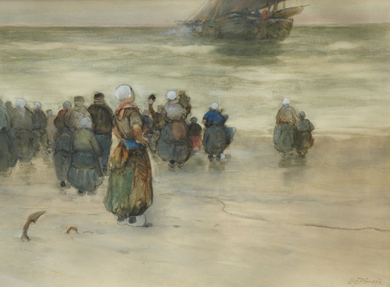 Gruppe C.P.  | Charles Paul Gruppe, The departure of the fleet, watercolour on paper 43.0 x 57.5 cm, signed l.r.