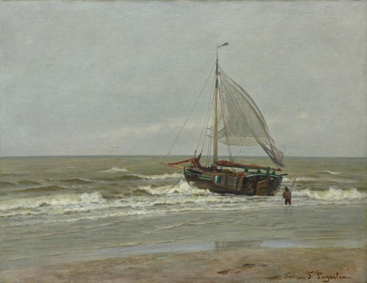 Ferdinand Julius Fagerlin | Fishing boat in the surf, oil on canvas, 37.3 x 48.5 cm, signed l.r. and executed on 24.12.85