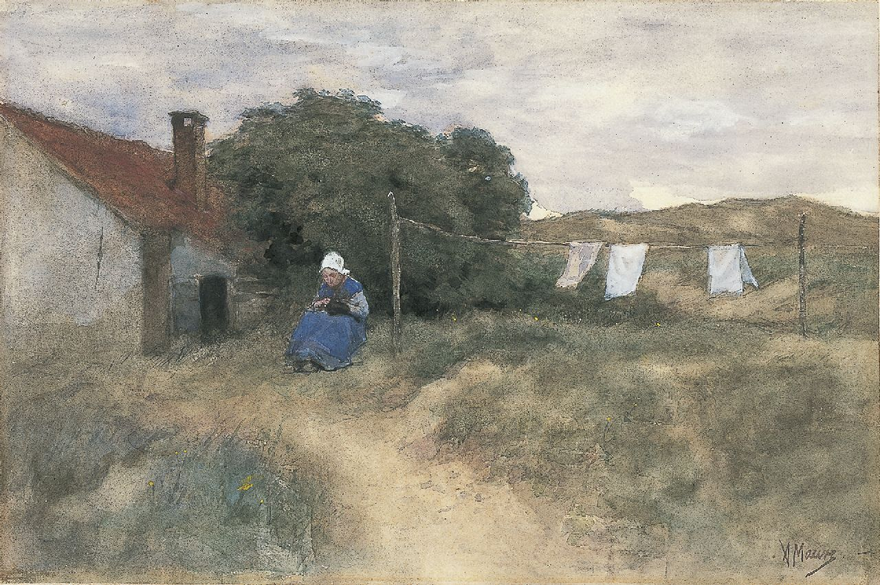 Mauve A.  | Anthonij 'Anton' Mauve, A farmer's wife in the dunes, watercolour on paper 22.6 x 34.5 cm, signed l.r.