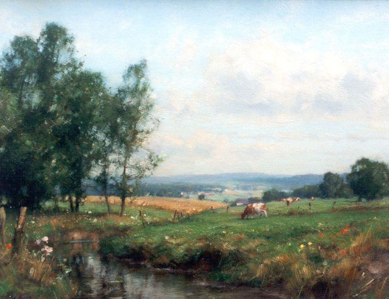 Holtrup J.  | Jan Holtrup, Landscape with cattle, Limburg, oil on canvas 35.0 x 45.0 cm, signed l.l.