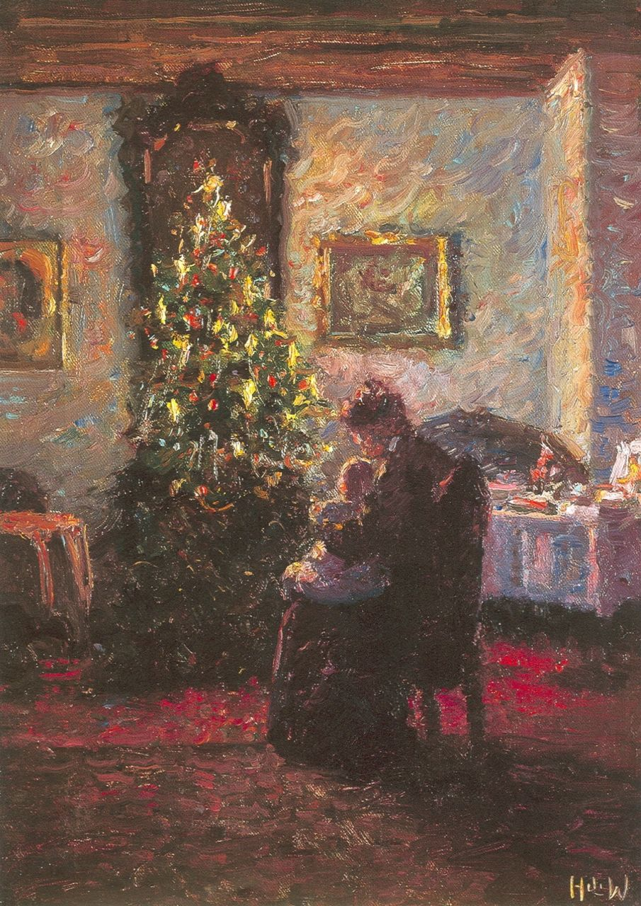 Heinrich Ferdinand Werner | The Christmas tree, oil on canvas, 50.3 x 38.2 cm, signed l.r. with initials and on the reverse and dated 1909
