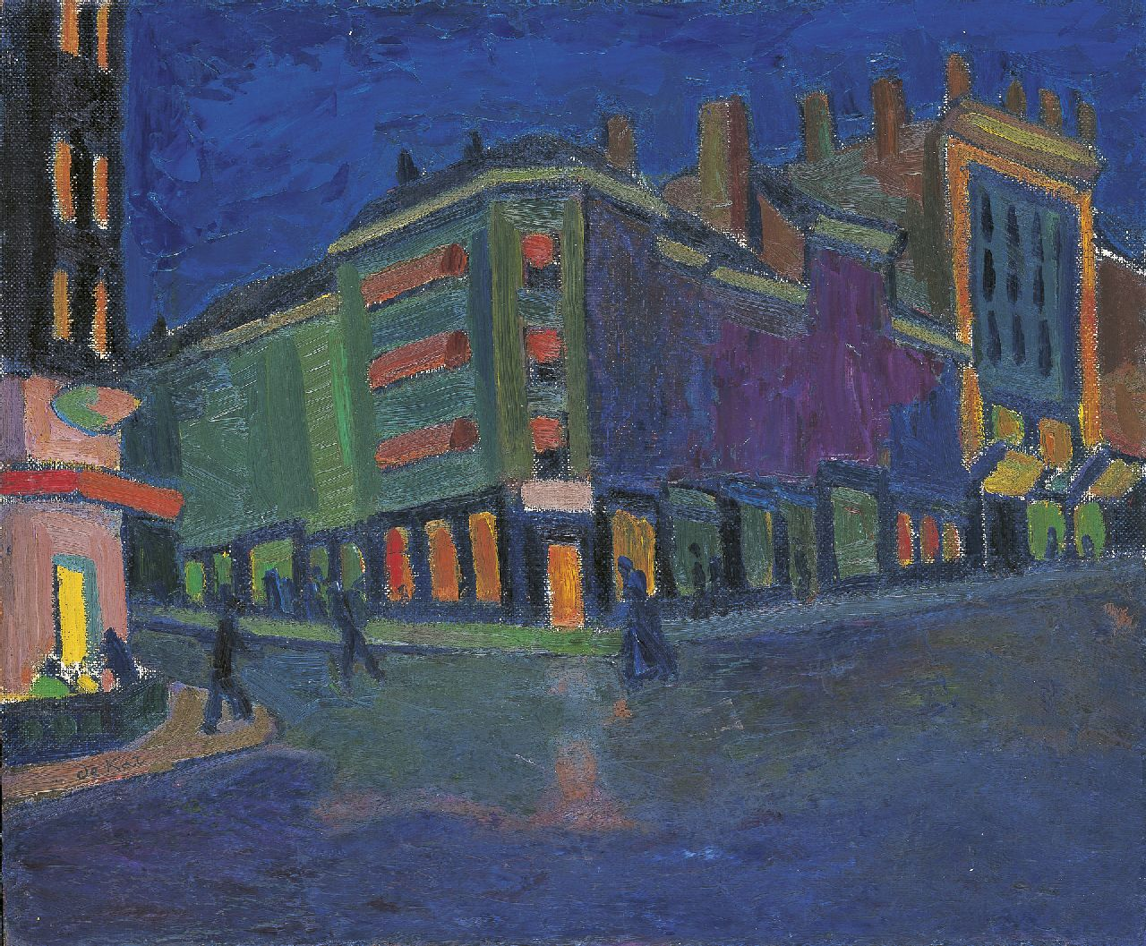 Kat A.-P. de | Anne-Pierre de Kat, City by night, oil on canvas laid down on board 50.0 x 60.1 cm, signed l.l.