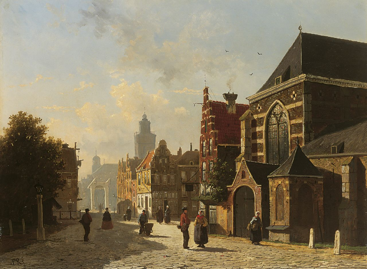 Roosdorp F.  | Frederik Roosdorp, A view of a sunlit Dutch town, oil on canvas 51.6 x 69.3 cm, signed l.l. with initials