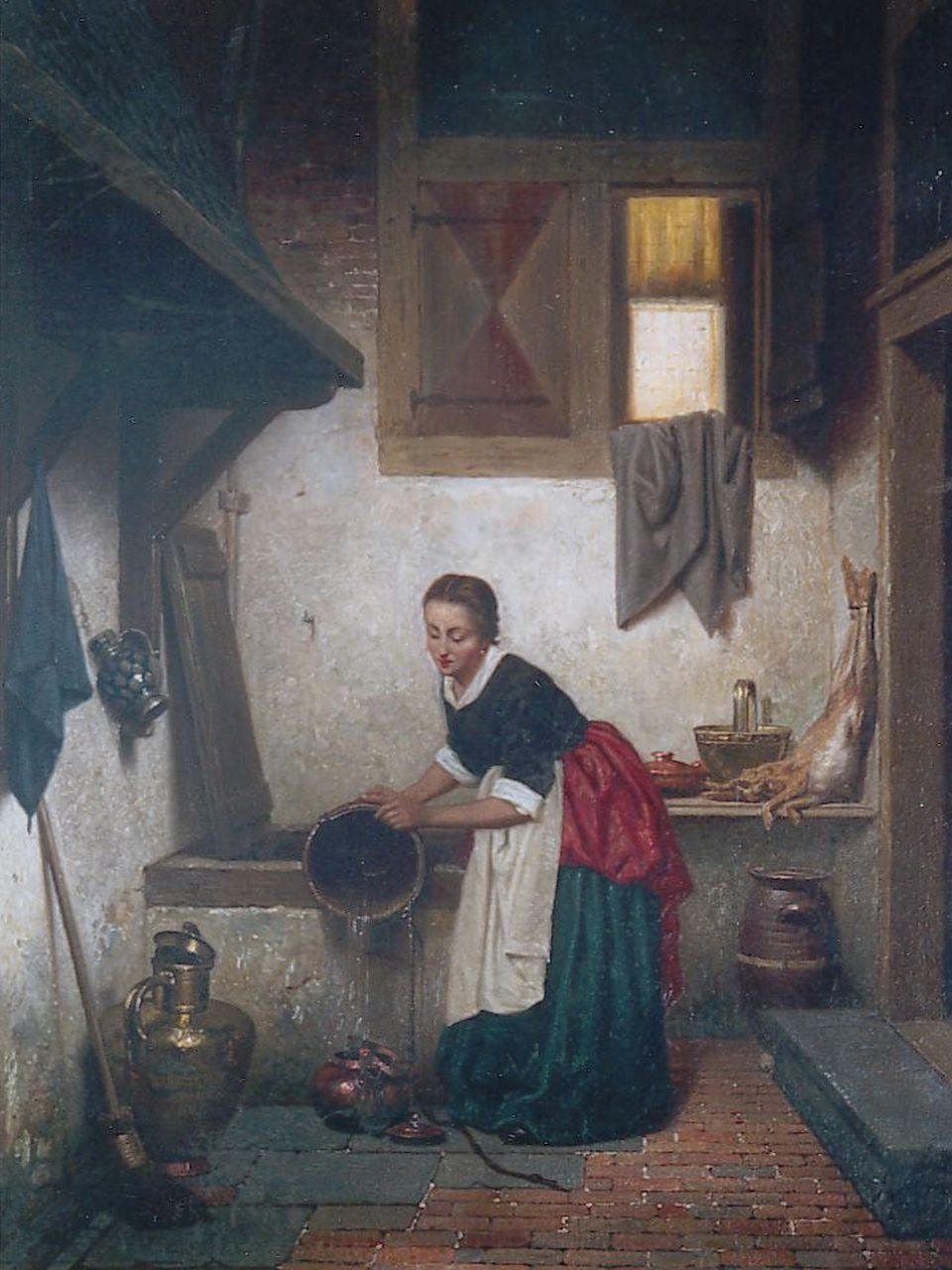 Grips C.J.  | Carel Jozeph Grips, An Kitchen Interior, oil on panel 27.3 x 21.0 cm, signed l.r. and dated 1865