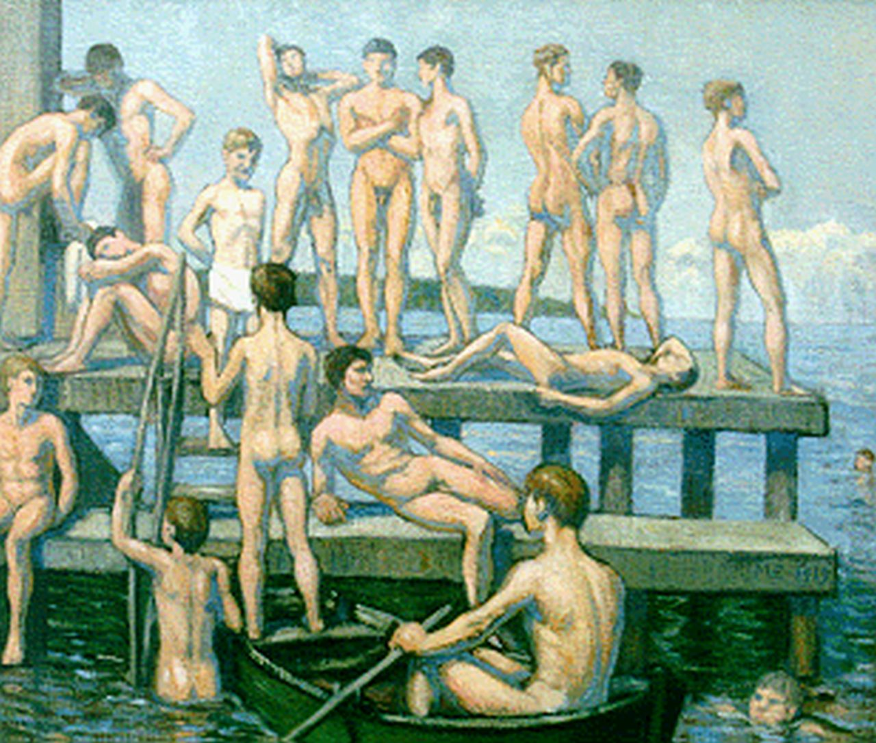 Malthe-Odin Engelsted | Bathing boys, oil on canvas, 66.5 x 78.3 cm, signed with monogram ME