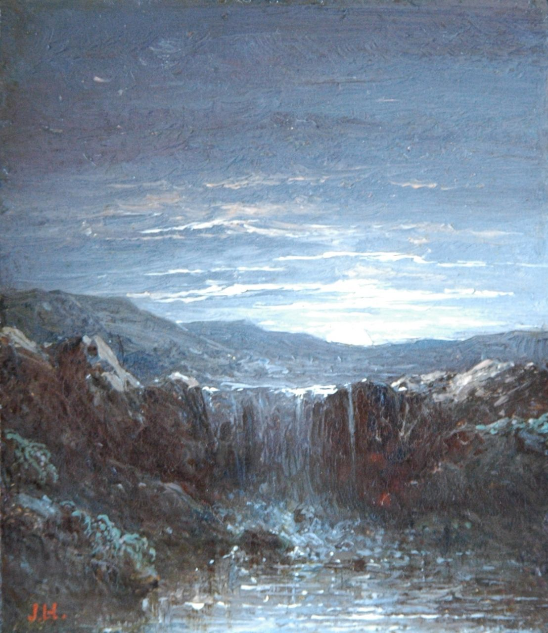 Hilverdink J.  | Johannes Hilverdink, Waterfall, oil on panel 10.1 x 8.7 cm, signed l.l. with initials and gifted to the Kunsthal