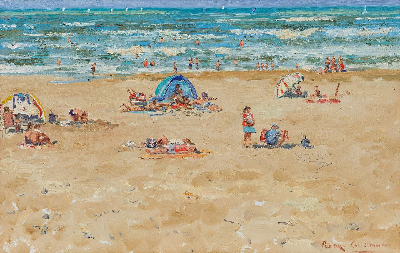 Guillaume P.  | Pierre Guillaume | Paintings offered for sale | Motherly love on the beach, oil on board 39.4 x 61.0 cm, signed l.r. and dated 28 aug 2004 on the reverse