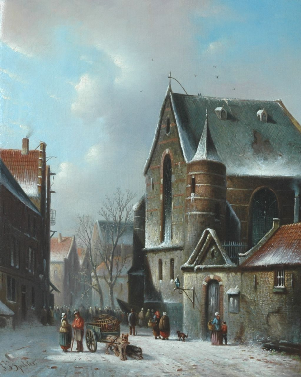Spohler J.F.  | Johannes Franciscus Spohler, A village square in winter, oil on canvas 44.0 x 35.0 cm, signed l.l.