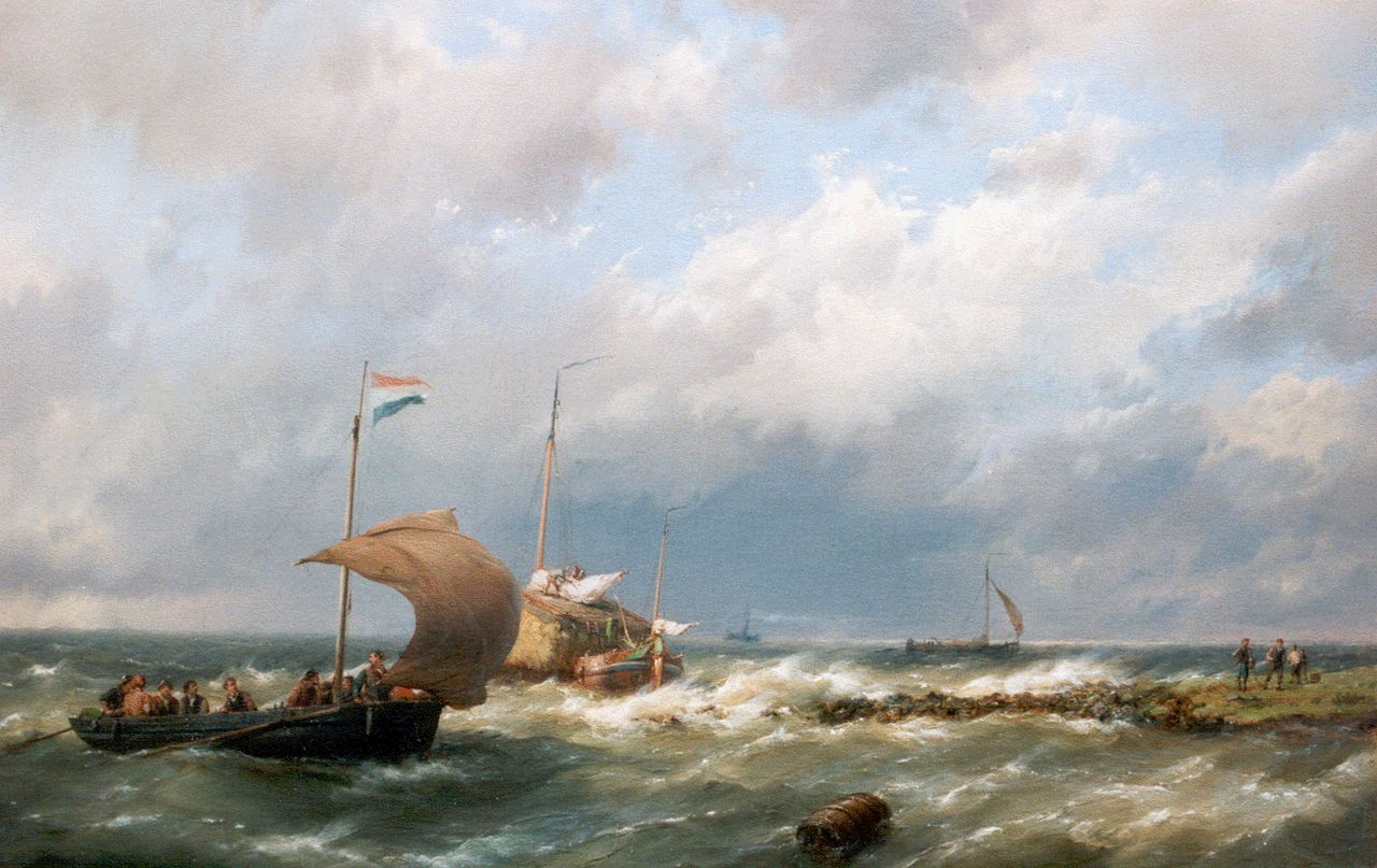 Koekkoek H.  | Hermanus Koekkoek, Vessels on a breezy day, oil on canvas 36.5 x 58.2 cm, signed l.r.