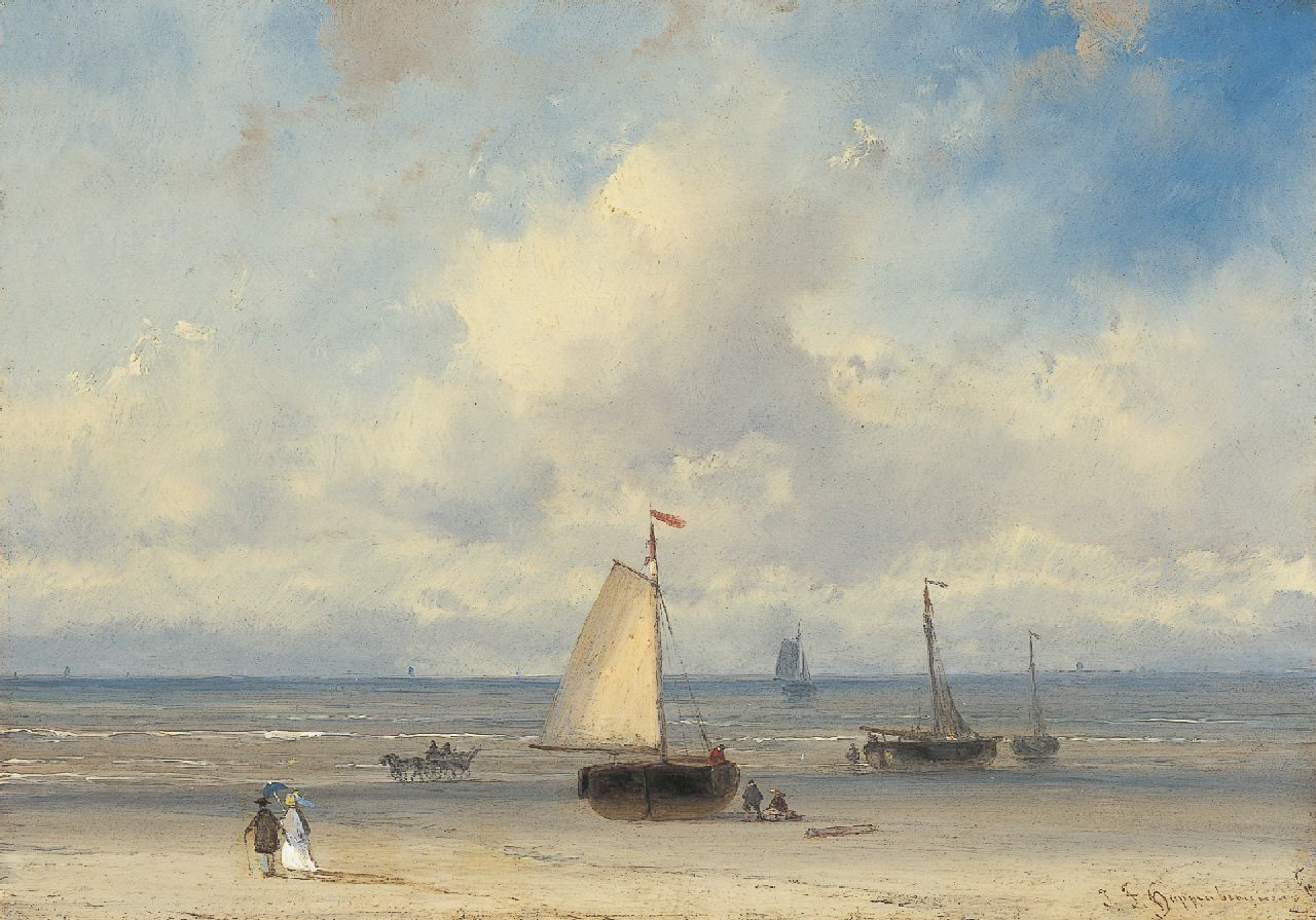 Hoppenbrouwers J.F.  | Johannes Franciscus Hoppenbrouwers, Elegant figures on the beach with 'bomschuiten' beyond, oil on panel 16.1 x 22.8 cm, signed l.r.