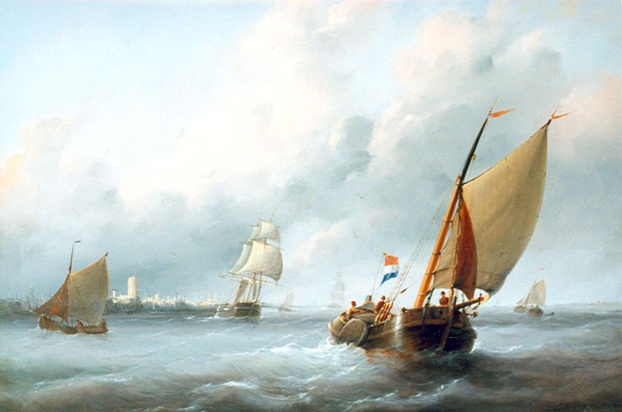 Christiaan Cornelis Kannemans | Sailing vessels on a breezy day near Brielle, oil on panel, 50.7 x 69.1 cm, signed l.r.