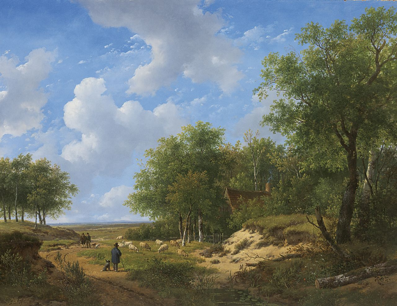 Schelfhout A.  | Andreas Schelfhout, Heathland with a shepherd and his flock, oil on panel 53.1 x 68.9 cm, signed l.l.