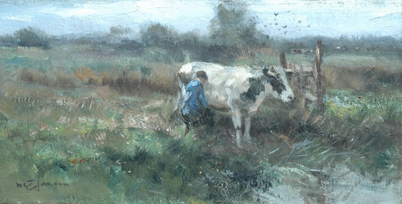 Jansen W.G.F.  | 'Willem' George Frederik Jansen, A farmer milking a cow, oil on canvas 20.5 x 40.2 cm, signed l.l.