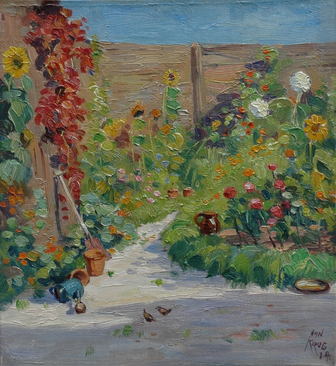 Han Krug | Flowering garden, 'Begoniastraat', The Hague, oil on canvas, 33.0 x 30.3 cm, signed l.r. and dated '24