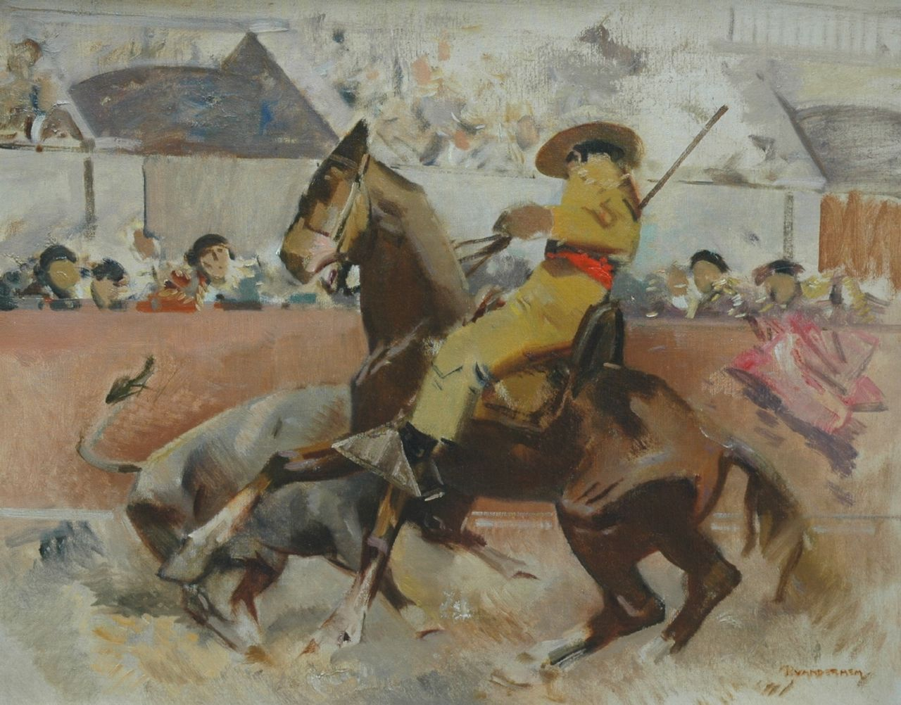 Hem P. van der | Pieter 'Piet' van der Hem, A bullfight, oil on canvas 61.5 x 77.2 cm, signed l.r.