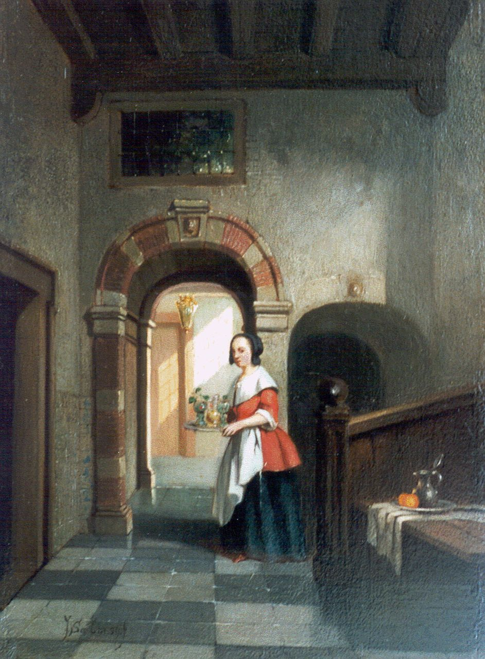 Johannes Cornelis Salm | Dutch interior, oil on panel, 20.0 x 14.4 cm, signed l.l. and dated '59
