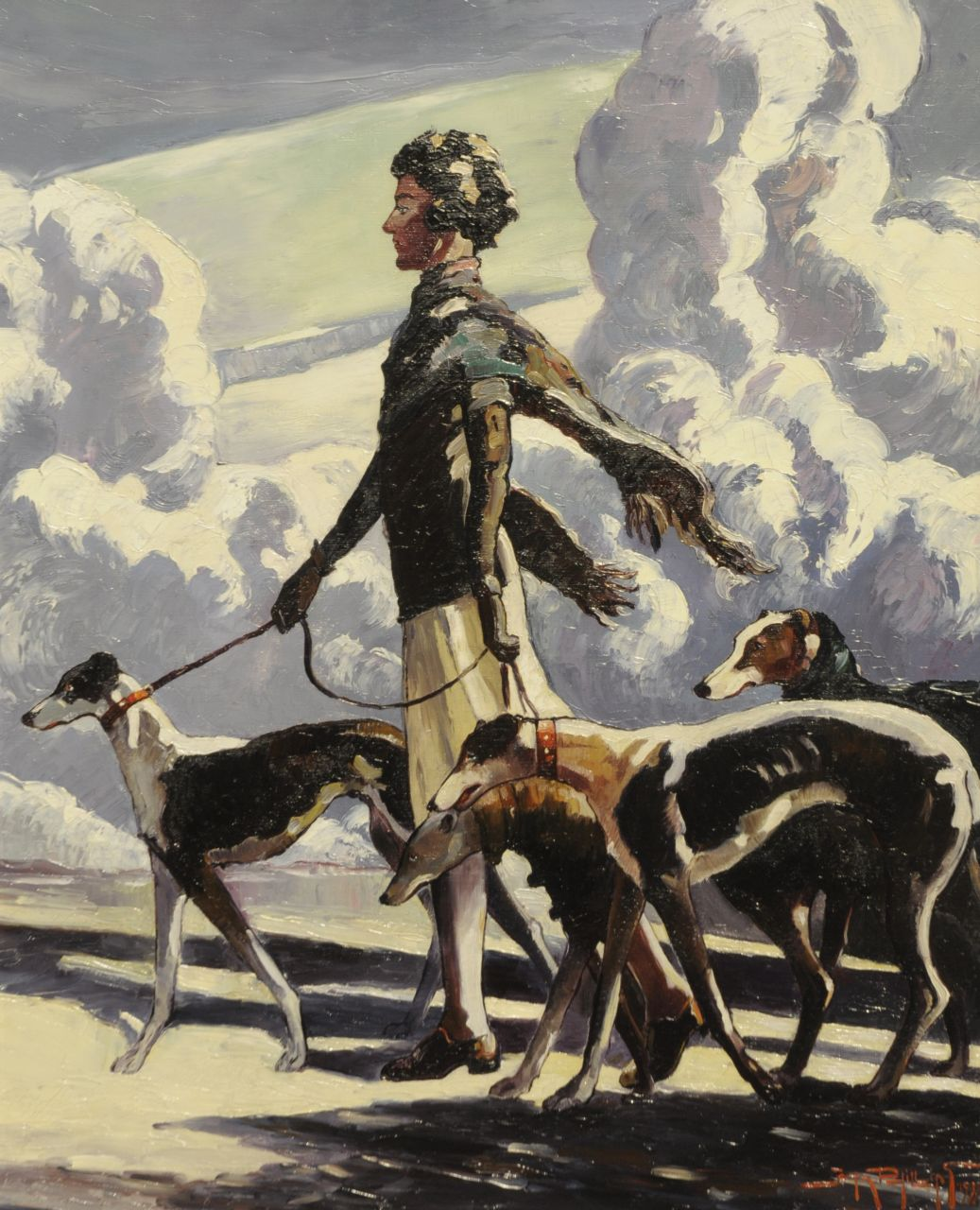 Phillips J.  | John Phillips, Strolling with the dogs, oil on canvas 50.1 x 40.2 cm, signed l.r. and dated 1939