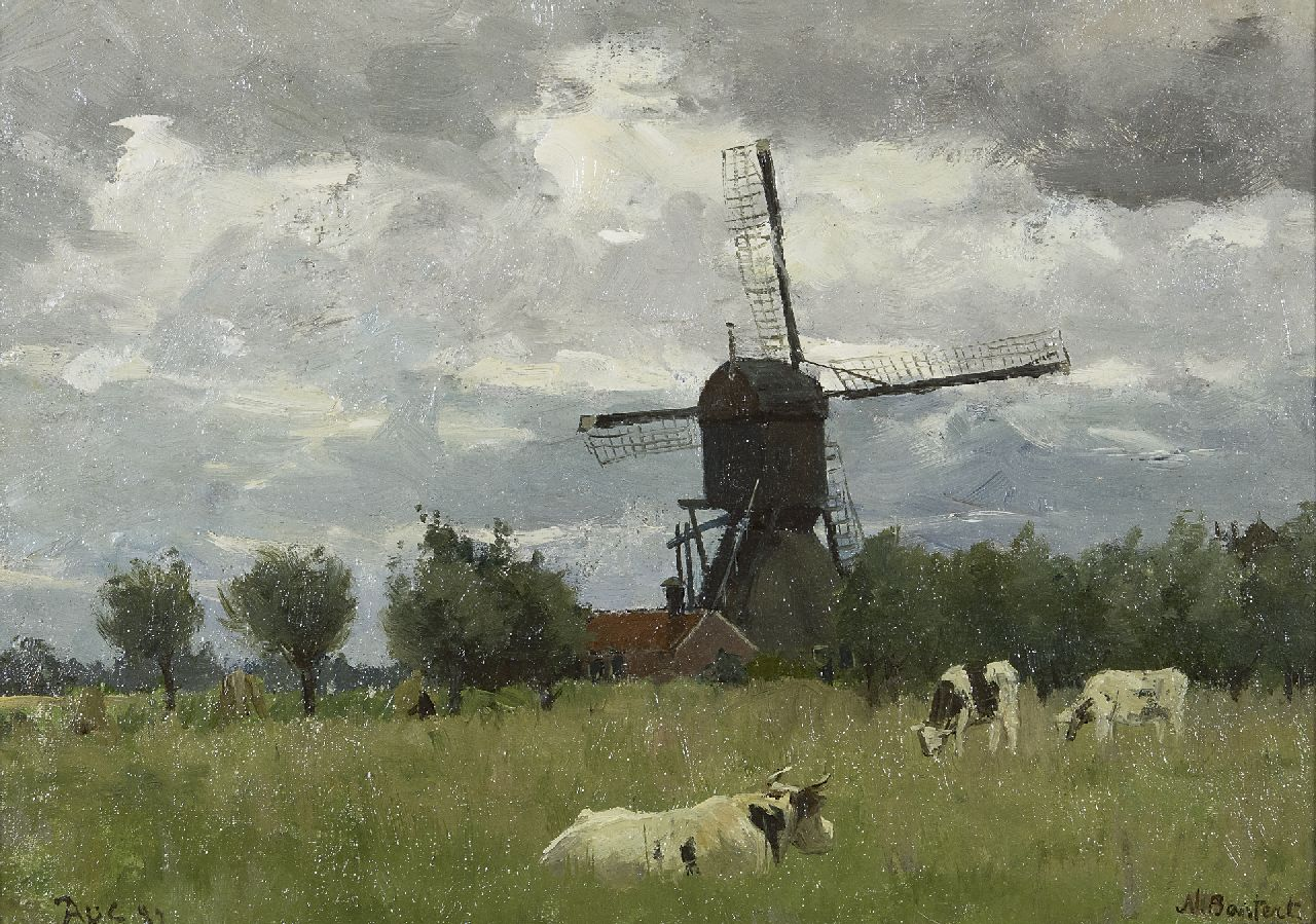 Nicolaas Bastert | Windmill of the Otterspoorbroek polder, Breukelen, oil on canvas laid down on panel, 24.5 x 34.0 cm, signed l.r. and dated Aug. '82