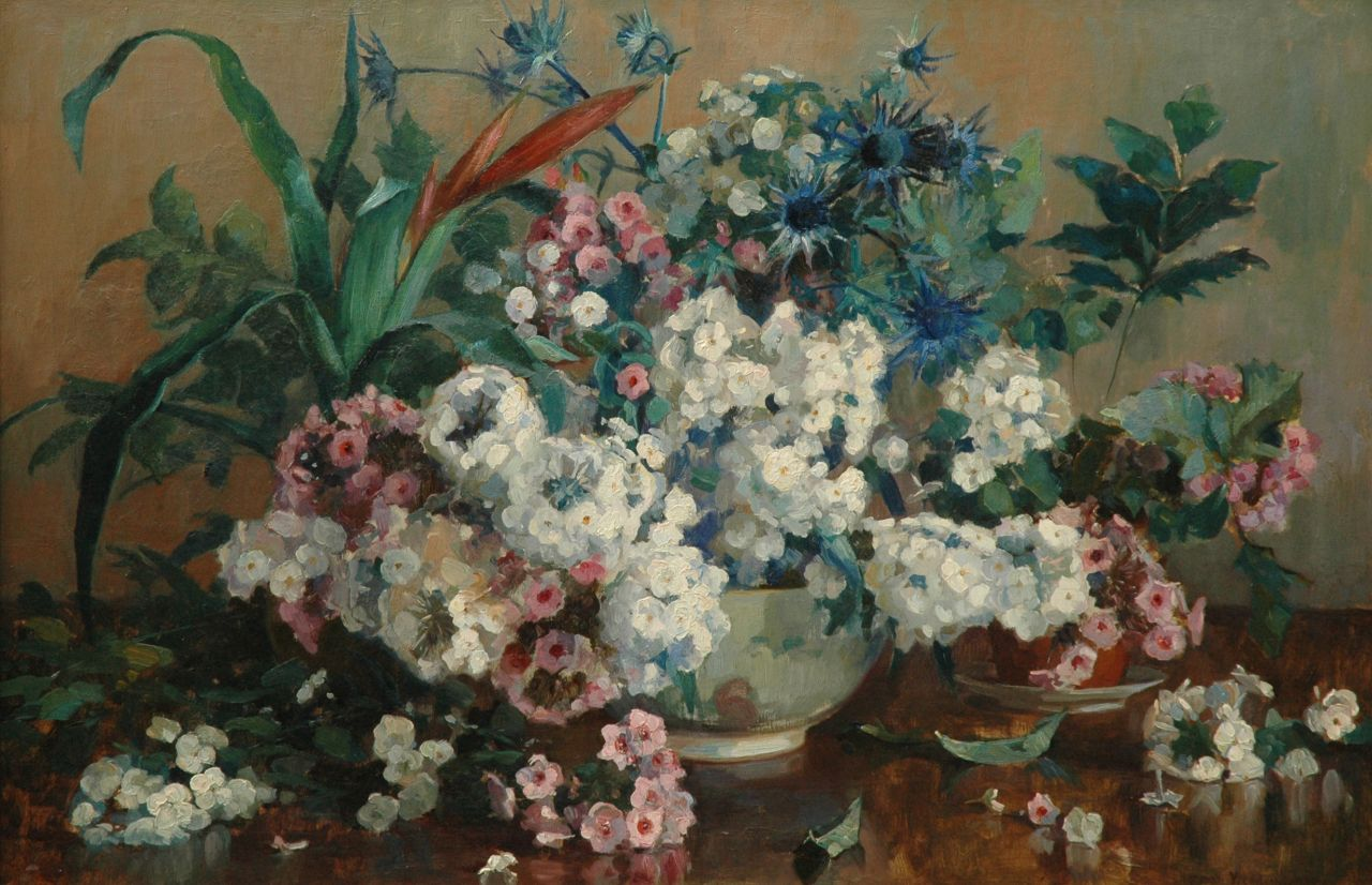 Herman Vreedenburgh | A bouquet of summer flowers, oil on canvas, 63.6 x 95.7 cm, signed l.r. and painted 1915