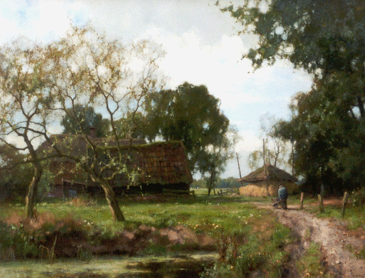 Holtrup J.  | Jan Holtrup, A farm in a wooded landscape, oil on canvas 70.2 x 90.2 cm, signed l.r.