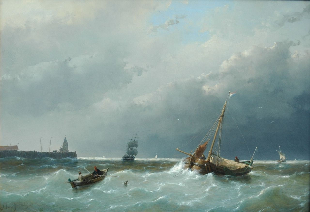 Schelfhout A.  | Andreas Schelfhout, Shipping in stormy waters, oil on panel 30.6 x 44.1 cm, signed l.l. and dated '60