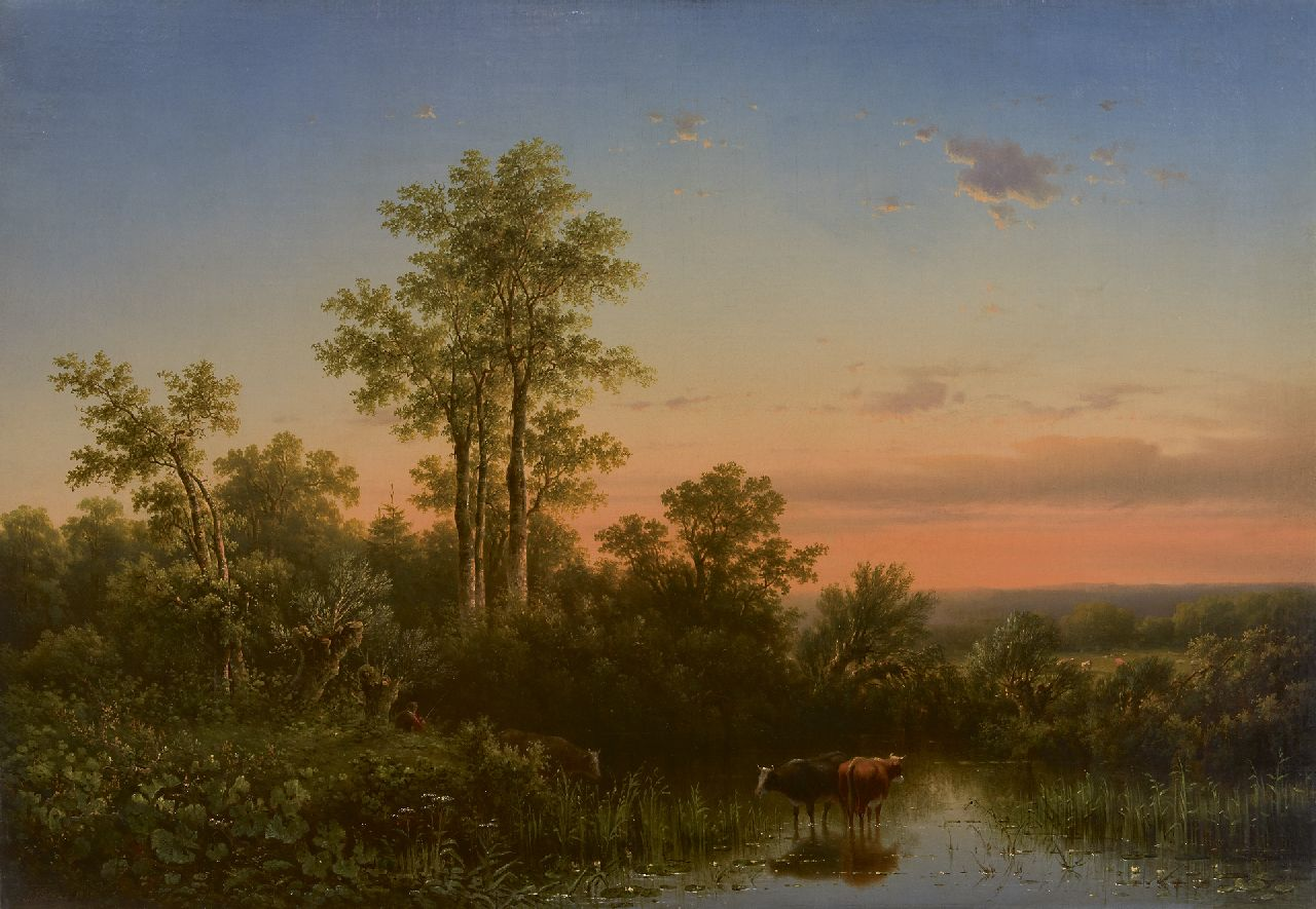 Jacobus Sörensen | Drinking cattle at sunset, oil on canvas, 69.1 x 99.8 cm, signed l.l. and painted 1855