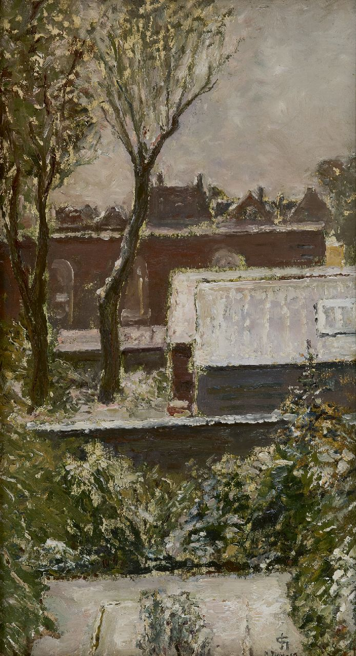Storm van 's-Gravesande C.N.  | Carel Nicolaas Storm van 's-Gravesande | Paintings offered for sale | A view on roofs and gardens, oil on canvas laid down on board 45.6 x 25.0 cm, signed l.r. with monogram and dated 3 nov. 19 (1919)