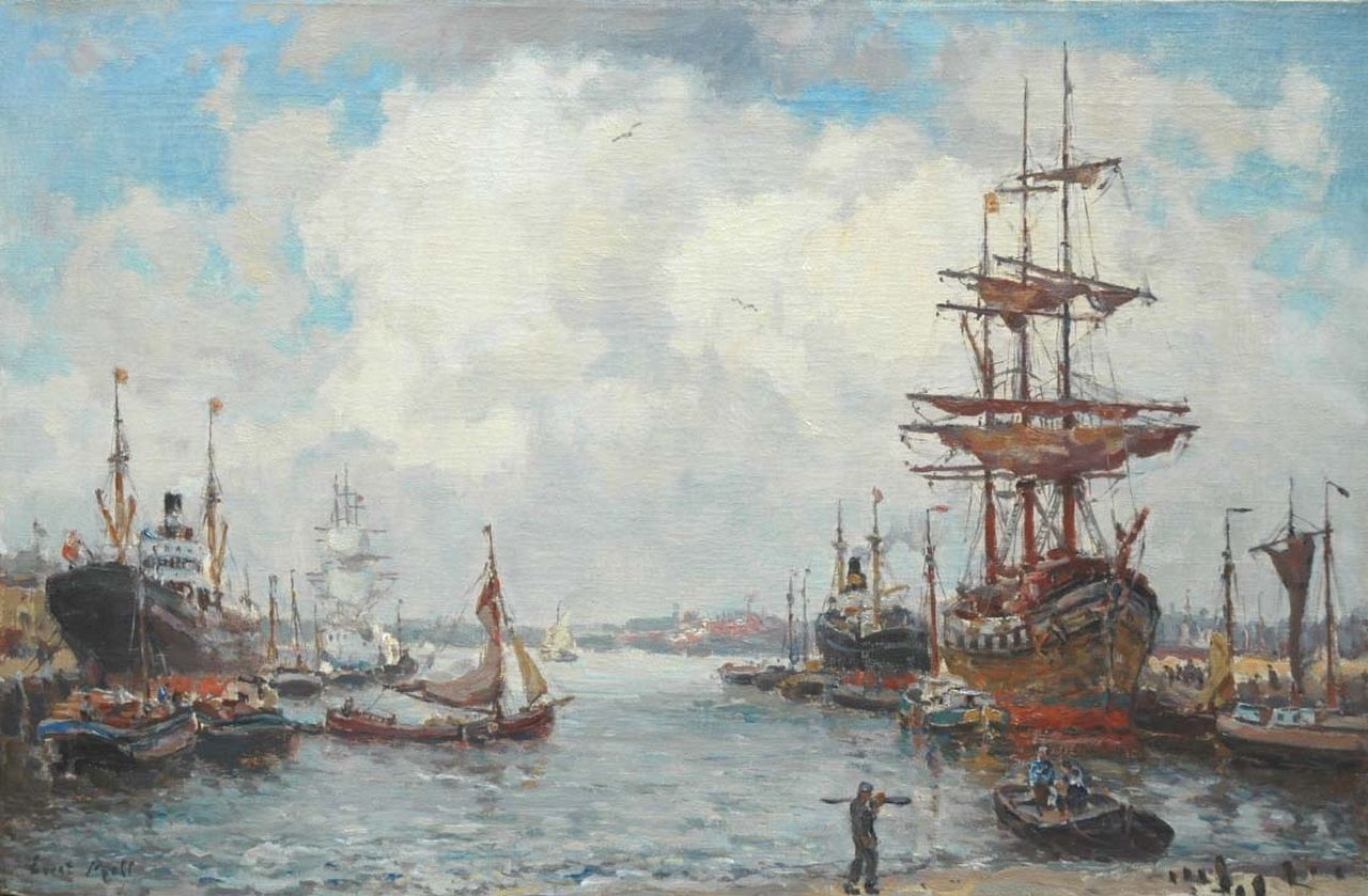 Moll E.  | Evert Moll, A harbour view with three-masters and steamers, oil on canvas 40.1 x 60.7 cm, signed l.l.