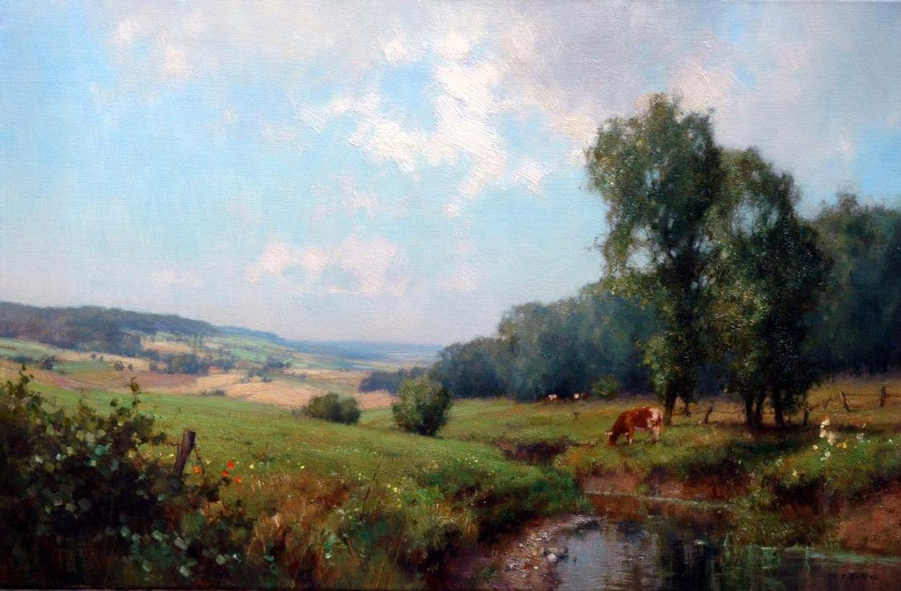 Holtrup J.  | Jan Holtrup, A stream in a hilly landscape, oil on canvas 39.8 x 60.0 cm, signed l.r.