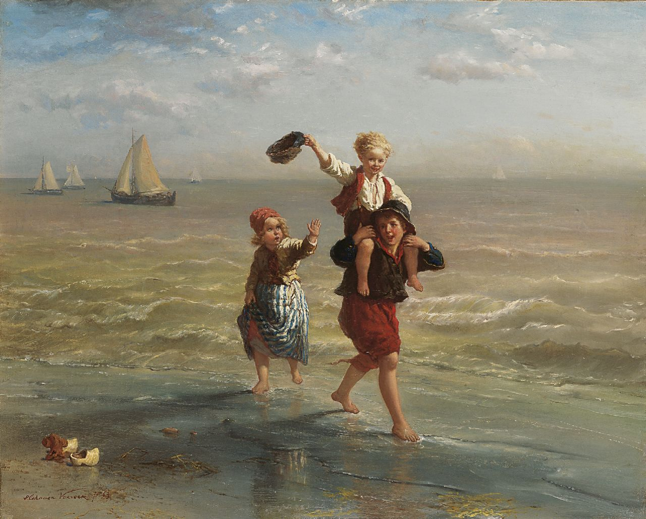 Verveer E.L.  | 'Elchanon' Leonardus Verveer, Children playing in the surf, oil on canvas 60.2 x 75.2 cm, signed l.l. and dated '63