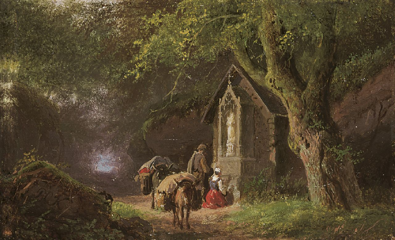 Koekkoek B.C.  | Barend Cornelis Koekkoek, Travellers at a Lady Chapel in the woods, oil on copper 5.7 x 9.0 cm, signed l.l. with initials and painted between 1845-1849